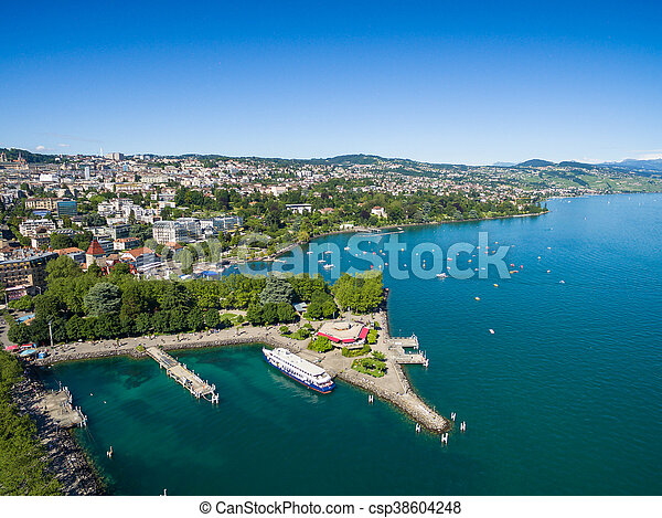 Aerial view of Ouchy waterfront in  Lausanne, Switzerland - csp38604248