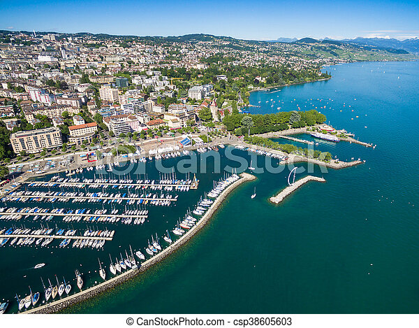 Aerial view of Ouchy waterfront in  Lausanne, Switzerland - csp38605603