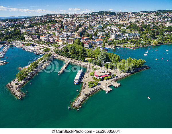 Aerial view of Ouchy waterfront in  Lausanne, Switzerland - csp38605604