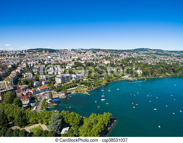 Aerial view of Ouchy waterfront in  Lausanne, Switzerland - csp38531037