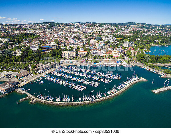 Aerial view of Ouchy waterfront in  Lausanne, Switzerland - csp38531038