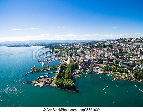 Aerial view of Ouchy waterfront in  Lausanne, Switzerland - csp38531039