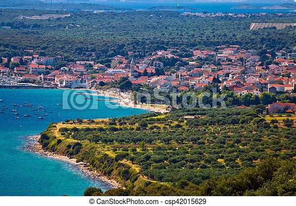 Aerial view of Pakostane coastal town - csp42015629