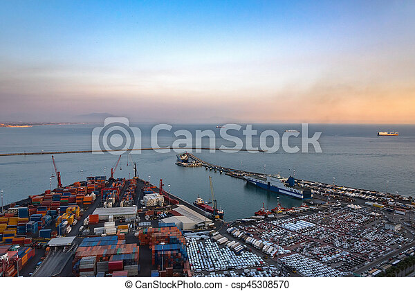 Aerial view of port in Salerno - csp45308570