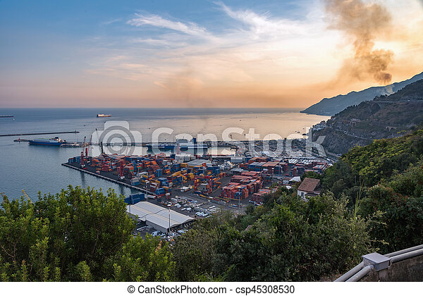 Aerial view of port in Salerno - csp45308530