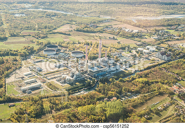 Aerial View of Power Station in Italy. Factory in Industry Zone. - csp56151252