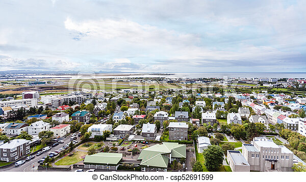 aerial view of Reykjavik city in autumn - csp52691599