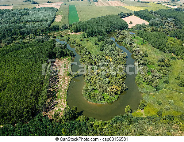 Aerial view of river Hernad in Hungary - csp63156581