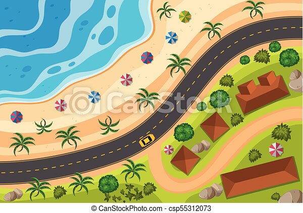 Aerial view of road along the beach - csp55312073