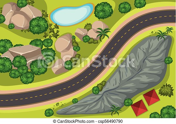 Aerial view of road along the park - csp56490790
