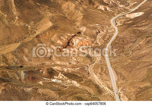 aerial view of road grand canyon from helicopter - csp64057806