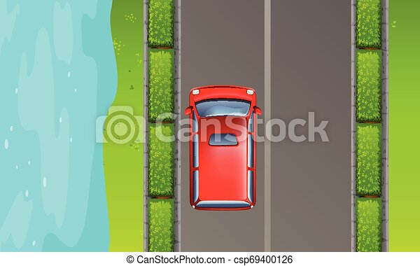 Aerial view of road - csp69400126