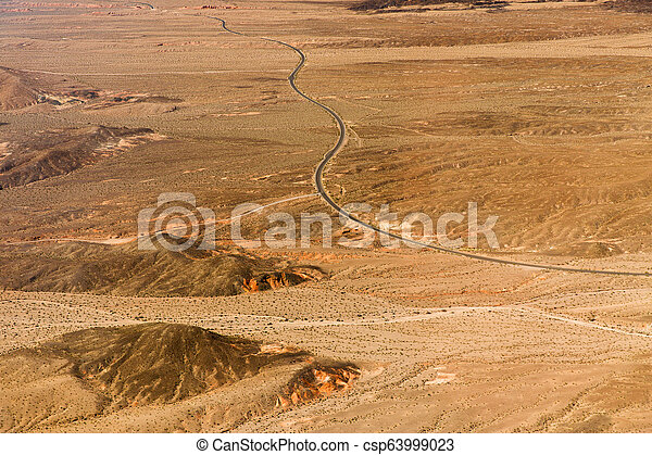 aerial view of road in grand canyon desert - csp63999023