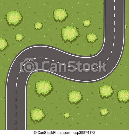 Aerial view of road on the green land - csp38874172
