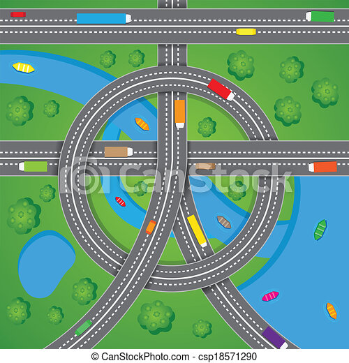 Aerial View of Road Traffic - csp18571290