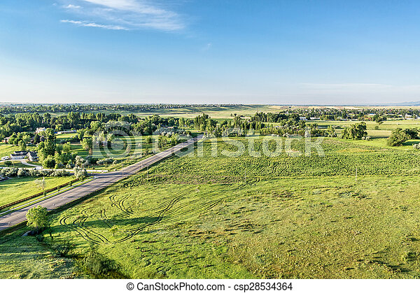 Aerial view of Rocky Mountains foothills - csp28534364