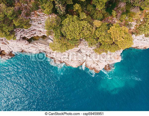 aerial view of rocky shore Adriatic Sea - csp59459951