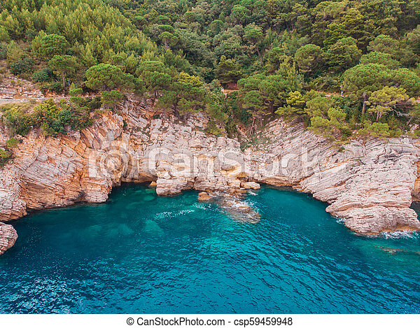 aerial view of rocky shore Adriatic Sea - csp59459948