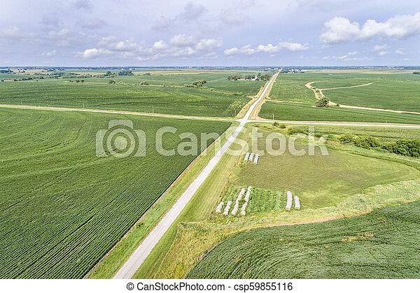 aerial view of rural Nebraska landscape - csp59855116