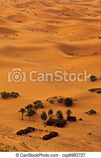 Aerial view of Sahara and bedouin camp, Morocco - csp6983727