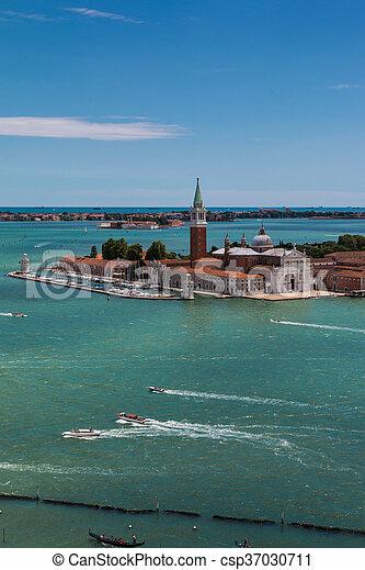 Aerial View of San Giorgio Maggiore Isle in Venice, Italy - csp37030711