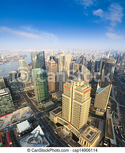 aerial view of shanghai under blue sky - csp14906114