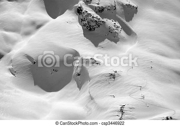 Aerial View of Skiers On a Mountaintop  - csp3446922