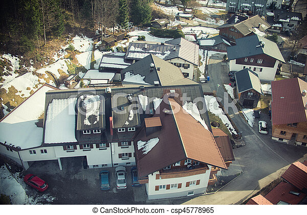 Aerial view of small town in Europe - csp45778965