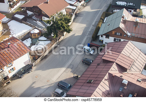 Aerial view of small town in Europe - csp45778959