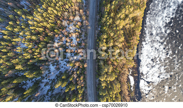 Aerial view of spring rural road in yellow pine forest with melting ice lake - csp70026910