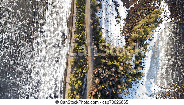 Aerial view of spring rural road in yellow pine forest with melting ice lake - csp70026865