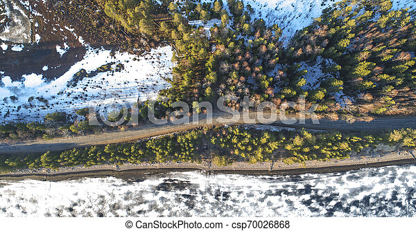 Aerial view of spring rural road in yellow pine forest with melting ice lake - csp70026868