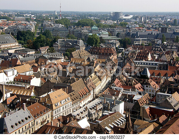 Aerial view of Strasbourg, France - csp16803237