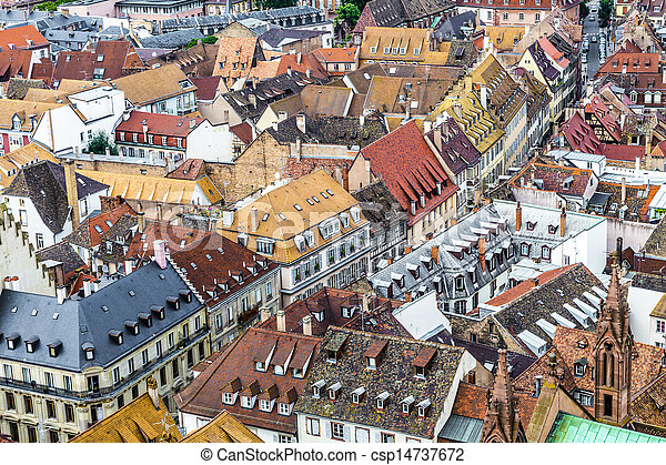 aerial view of Strasbourg  to the old city - csp14737672