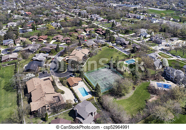 Aerial View of Suburban Neighborhood - csp52964991