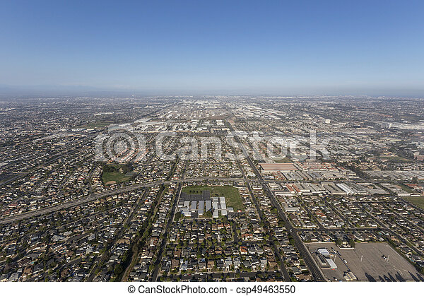 Aerial view of Summer Smog above Torrance and Los Angeles, California - csp49463550