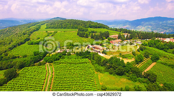 Aerial View Of Tenuta Coffele An Old Farmhouse In The Hills