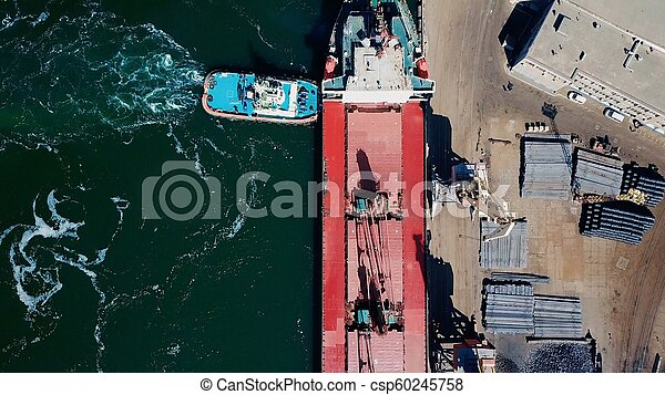 aerial view of terminal in port - csp60245758