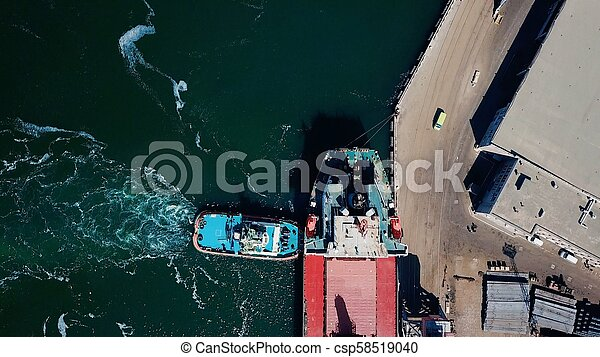 aerial view of terminal in port - csp58519040