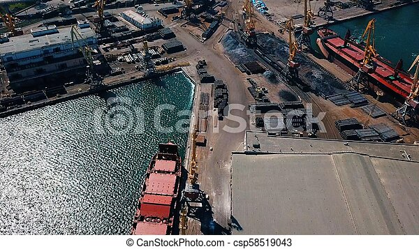 aerial view of terminal in port - csp58519043