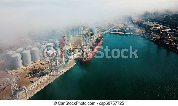 aerial view of terminal in port - csp60757725