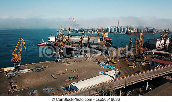 aerial view of terminal in port - csp58519036