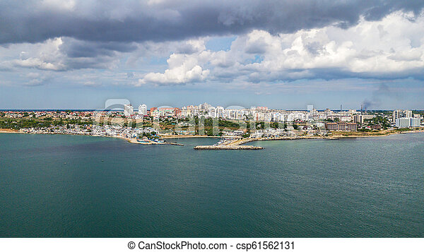 Aerial view of the city near the Black Sea - csp61562131
