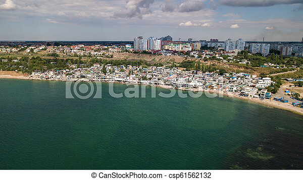 Aerial view of the city near the Black Sea - csp61562132