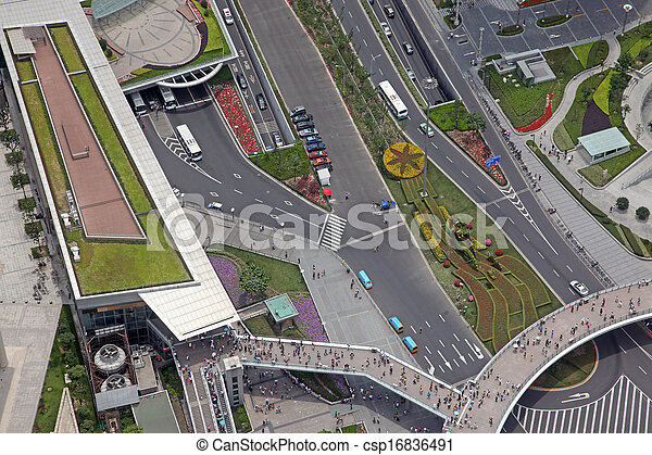 Aerial view of the crossroads in Shanghai, China - csp16836491