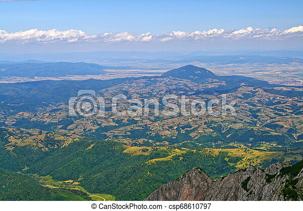 Aerial view of the hills from mountain top - csp68610797