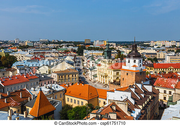 Aerial view of the historic center of Lublin, Poland. - csp61751710