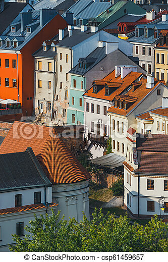 Aerial view of the historic center of Lublin, Poland. - csp61459657