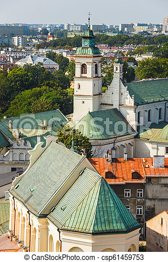 Aerial view of the historic center of Lublin, Poland. - csp61459753