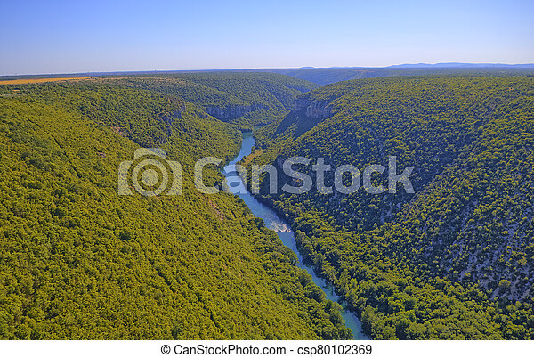 Aerial view of the Krka River Canyon - csp80102369